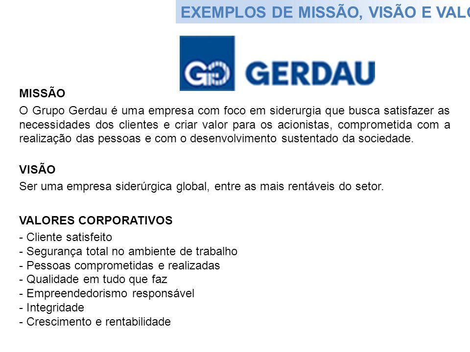 EXEMPLOS DE MISSÃO, VISÃO E VALORES MISSÃO O Grupo Gerdau é uma empresa com foco em siderurgia que busca satisfazer as necessidades dos clientes e cri