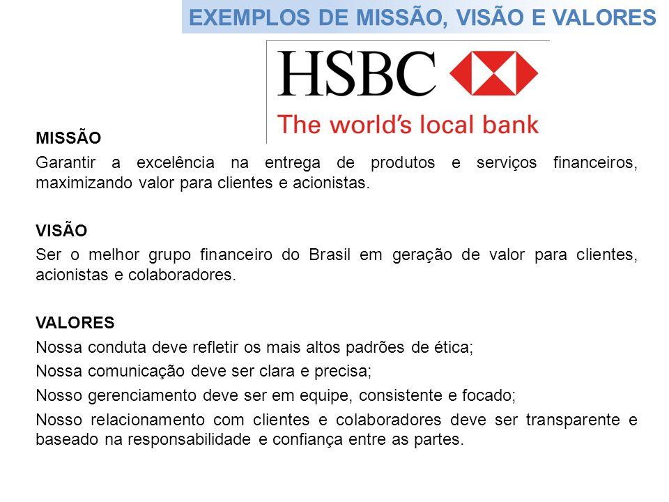 EXEMPLOS DE MISSÃO, VISÃO E VALORES MISSÃO Garantir a excelência na entrega de produtos e serviços financeiros, maximizando valor para clientes e acio
