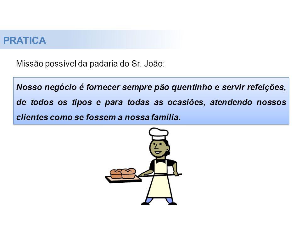 PRATICA Missão possível da padaria do Sr. João: Nosso negócio é fornecer sempre pão quentinho e servir refeições, de todos os tipos e para todas as oc