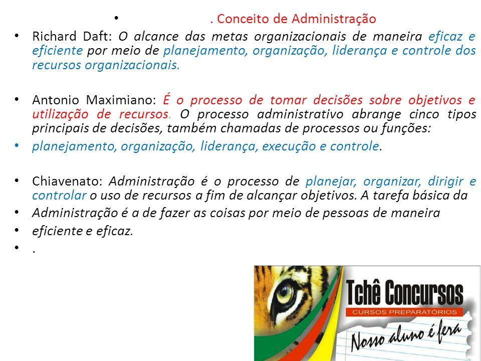 •. Conceito de Administração • Richard Daft: O alcance das metas organizacionais de maneira eficaz e eficiente por meio de planejamento, organização,