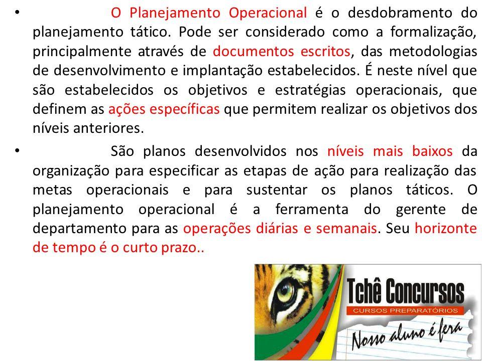• O Planejamento Operacional é o desdobramento do planejamento tático. Pode ser considerado como a formalização, principalmente através de documentos