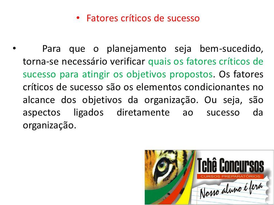 • Fatores críticos de sucesso • Para que o planejamento seja bem-sucedido, torna-se necessário verificar quais os fatores críticos de sucesso para ati