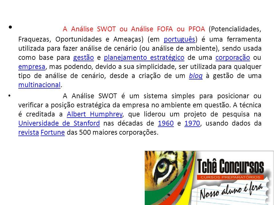 • A Análise SWOT ou Análise FOFA ou PFOA (Potencialidades, Fraquezas, Oportunidades e Ameaças) (em português) é uma ferramenta utilizada para fazer an