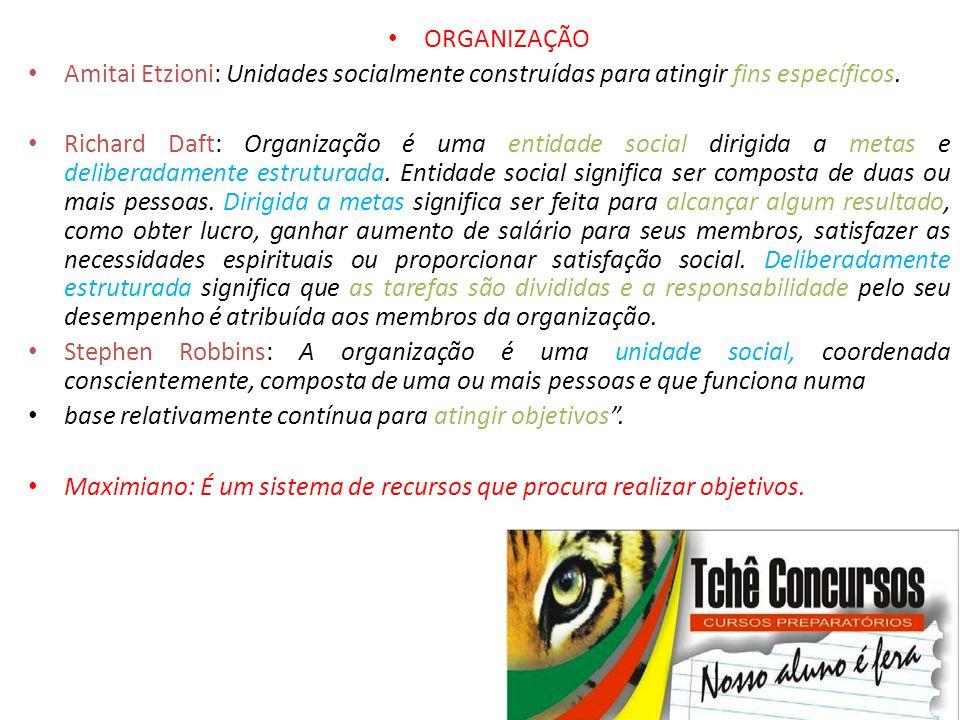 • ORGANIZAÇÃO • Amitai Etzioni: Unidades socialmente construídas para atingir fins específicos. • Richard Daft: Organização é uma entidade social diri