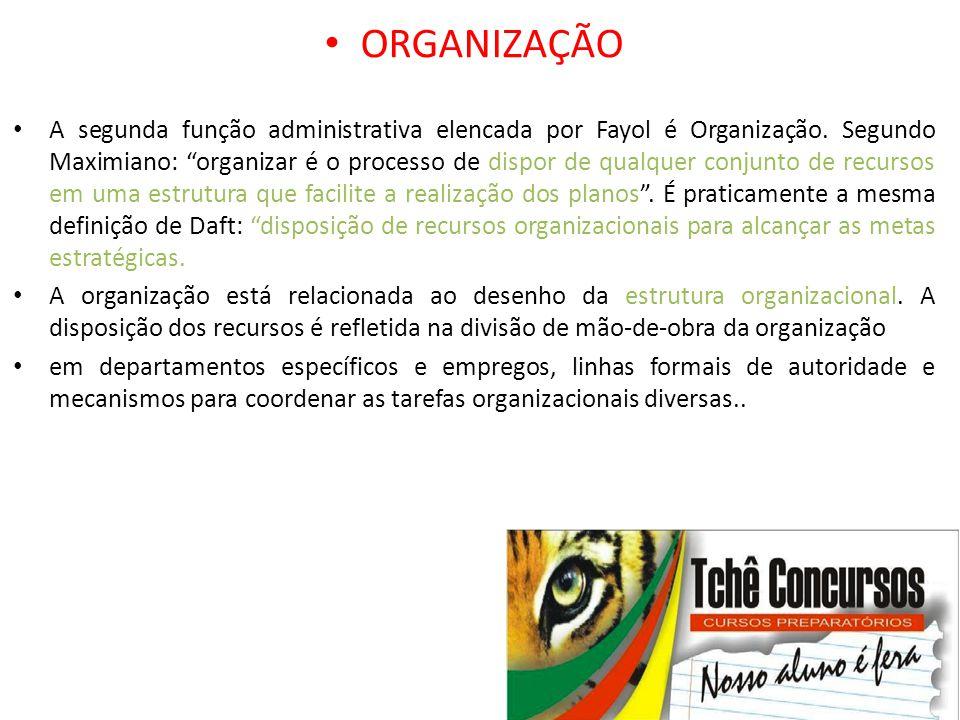"""• ORGANIZAÇÃO • A segunda função administrativa elencada por Fayol é Organização. Segundo Maximiano: """"organizar é o processo de dispor de qualquer con"""