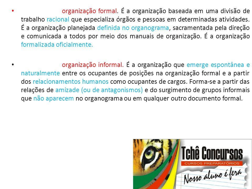 • organização formal. É a organização baseada em uma divisão de trabalho racional que especializa órgãos e pessoas em determinadas atividades. É a org