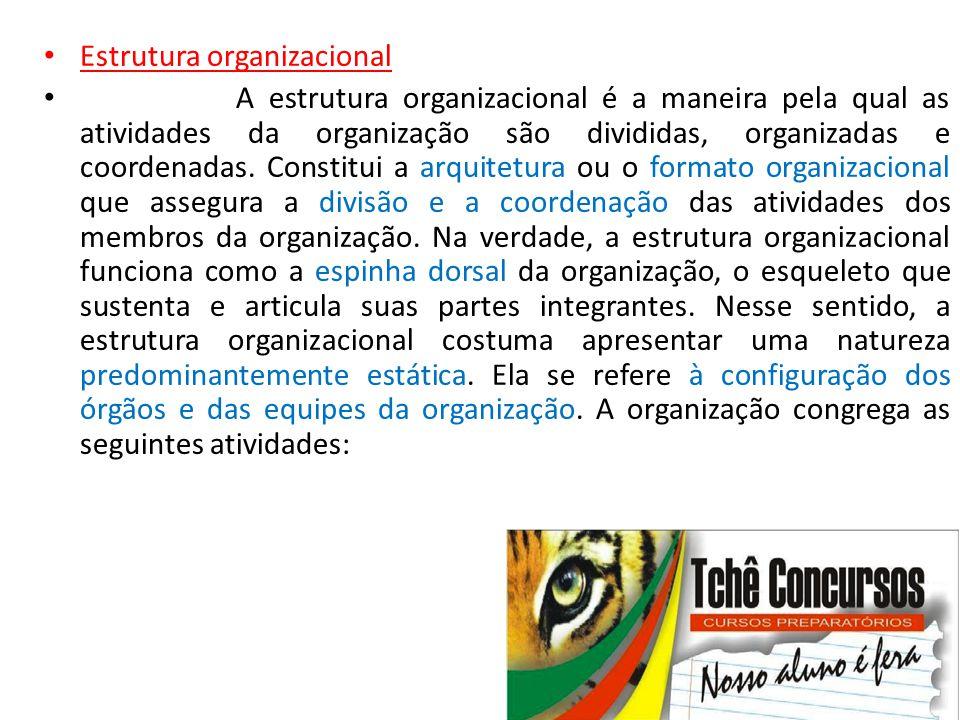 • Estrutura organizacional • A estrutura organizacional é a maneira pela qual as atividades da organização são divididas, organizadas e coordenadas. C