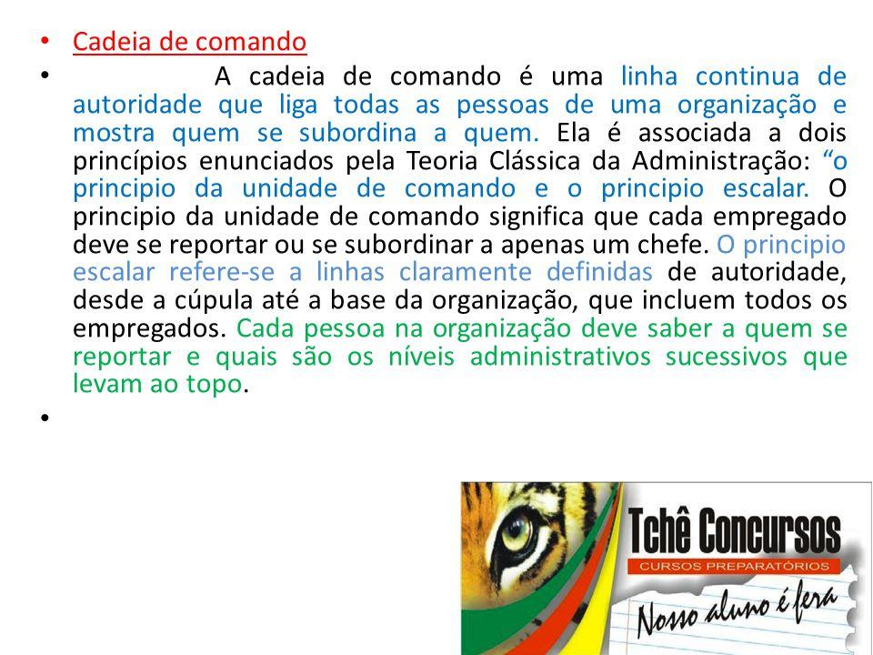 • Cadeia de comando • A cadeia de comando é uma linha continua de autoridade que liga todas as pessoas de uma organização e mostra quem se subordina a