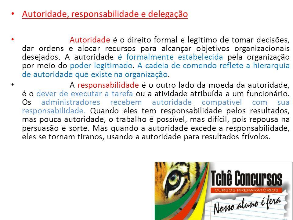 • Autoridade, responsabilidade e delegação • Autoridade é o direito formal e legitimo de tomar decisões, dar ordens e alocar recursos para alcançar ob
