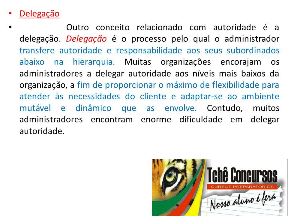 • Delegação • Outro conceito relacionado com autoridade é a delegação. Delegação é o processo pelo qual o administrador transfere autoridade e respons