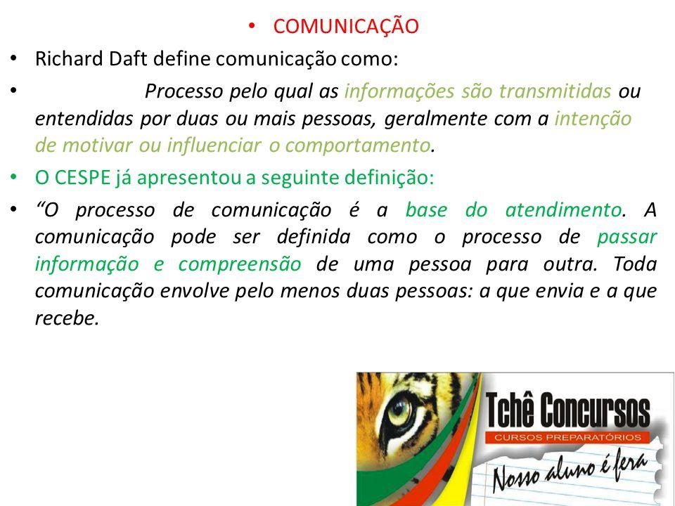 • COMUNICAÇÃO • Richard Daft define comunicação como: • Processo pelo qual as informações são transmitidas ou entendidas por duas ou mais pessoas, ger