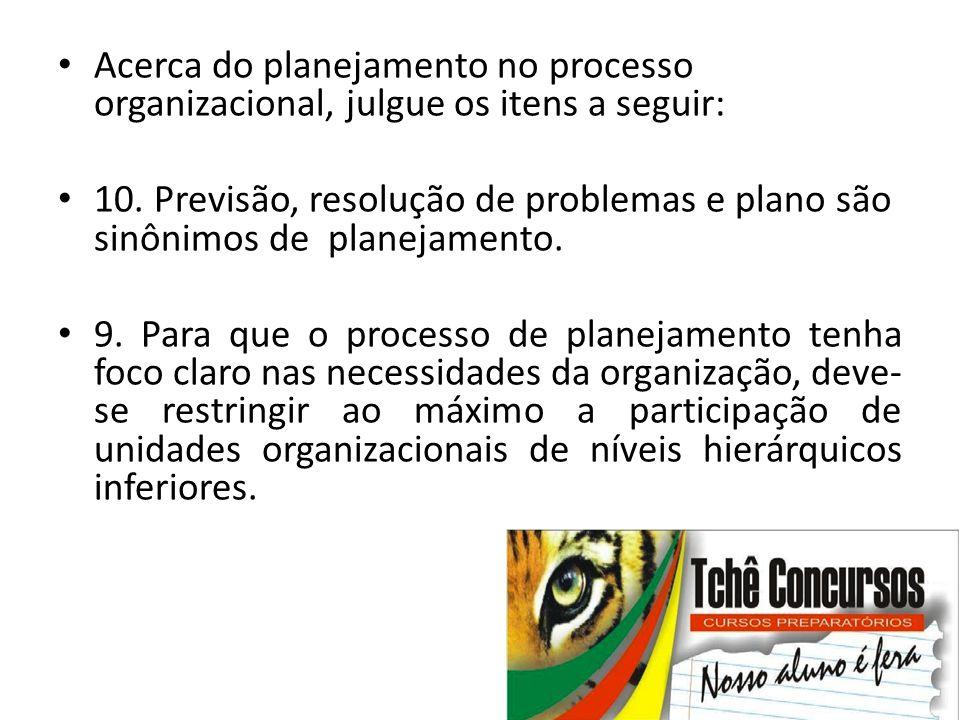 • Acerca do planejamento no processo organizacional, julgue os itens a seguir: • 10. Previsão, resolução de problemas e plano são sinônimos de planeja
