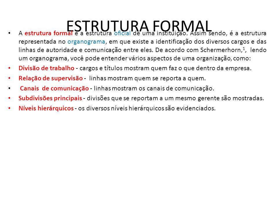 ESTRUTURA FORMAL • A estrutura formal é a estrutura oficial de uma instituição. Assim sendo, é a estrutura representada no organograma, em que existe