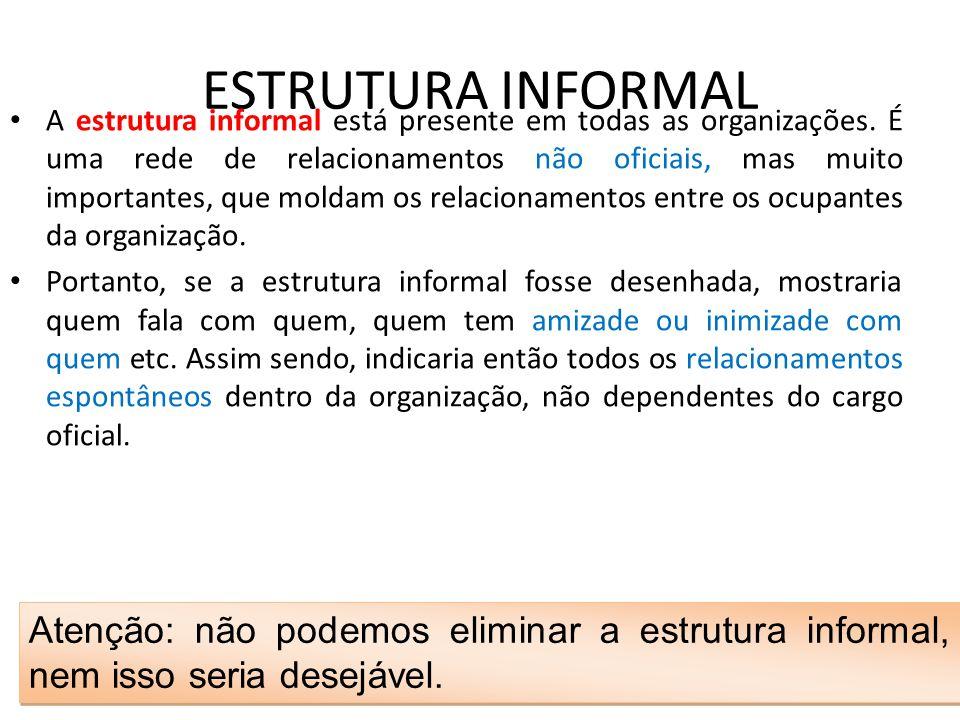 ESTRUTURA INFORMAL • A estrutura informal está presente em todas as organizações. É uma rede de relacionamentos não oficiais, mas muito importantes, q