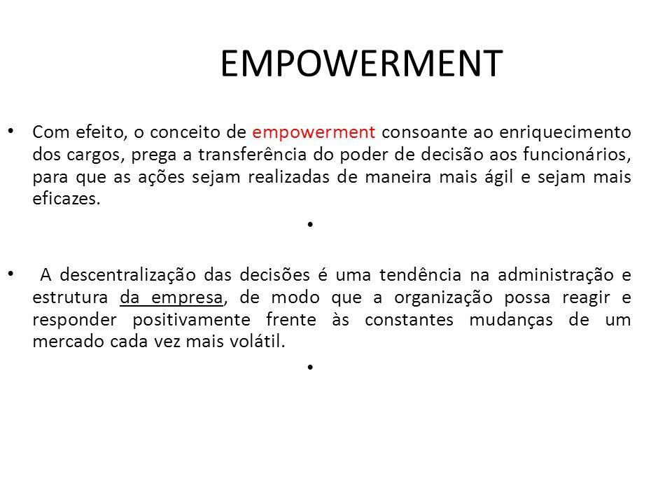 EMPOWERMENT • Com efeito, o conceito de empowerment consoante ao enriquecimento dos cargos, prega a transferência do poder de decisão aos funcionários