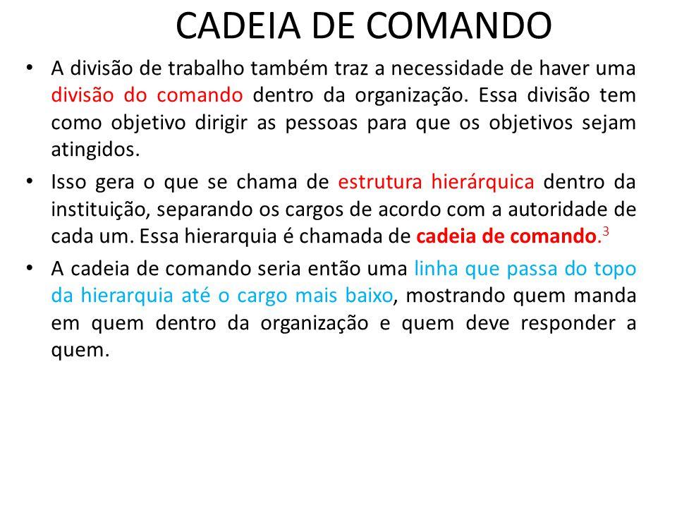 CADEIA DE COMANDO • A divisão de trabalho também traz a necessidade de haver uma divisão do comando dentro da organização. Essa divisão tem como objet