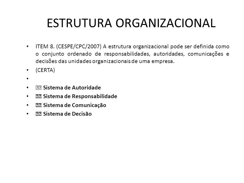 ESTRUTURA ORGANIZACIONAL • ITEM 8. (CESPE/CPC/2007) A estrutura organizacional pode ser definida como o conjunto ordenado de responsabilidades, autori