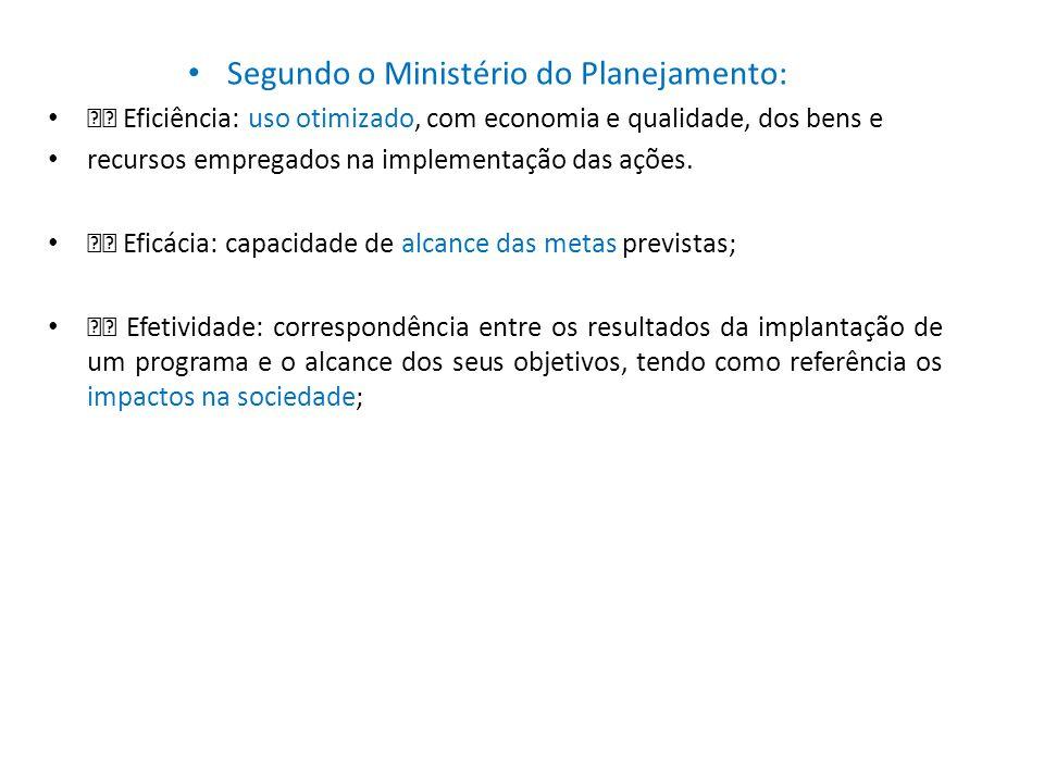 • Segundo o Ministério do Planejamento: • Eficiência: uso otimizado, com economia e qualidade, dos bens e • recursos empregados na implementação das a