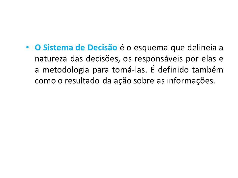 • O Sistema de Decisão é o esquema que delineia a natureza das decisões, os responsáveis por elas e a metodologia para tomá-las. É definido também com