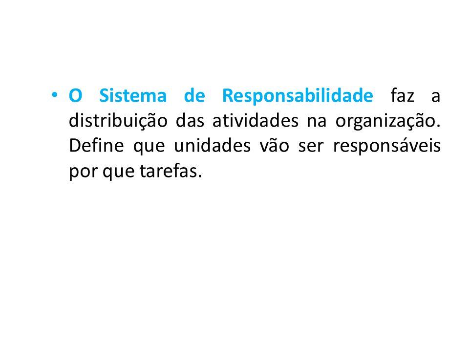• O Sistema de Responsabilidade faz a distribuição das atividades na organização. Define que unidades vão ser responsáveis por que tarefas.