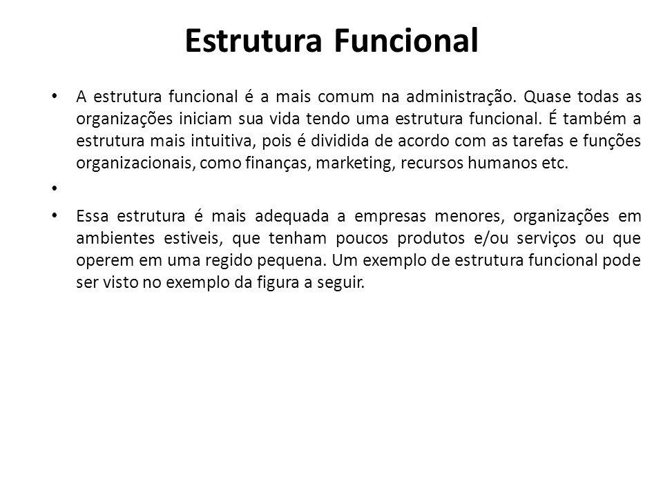 Estrutura Funcional • A estrutura funcional é a mais comum na administração. Quase todas as organizações iniciam sua vida tendo uma estrutura funciona