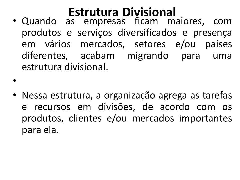 Estrutura Divisional • Quando as empresas ficam maiores, com produtos e serviços diversificados e presença em vários mercados, setores e/ou países dif