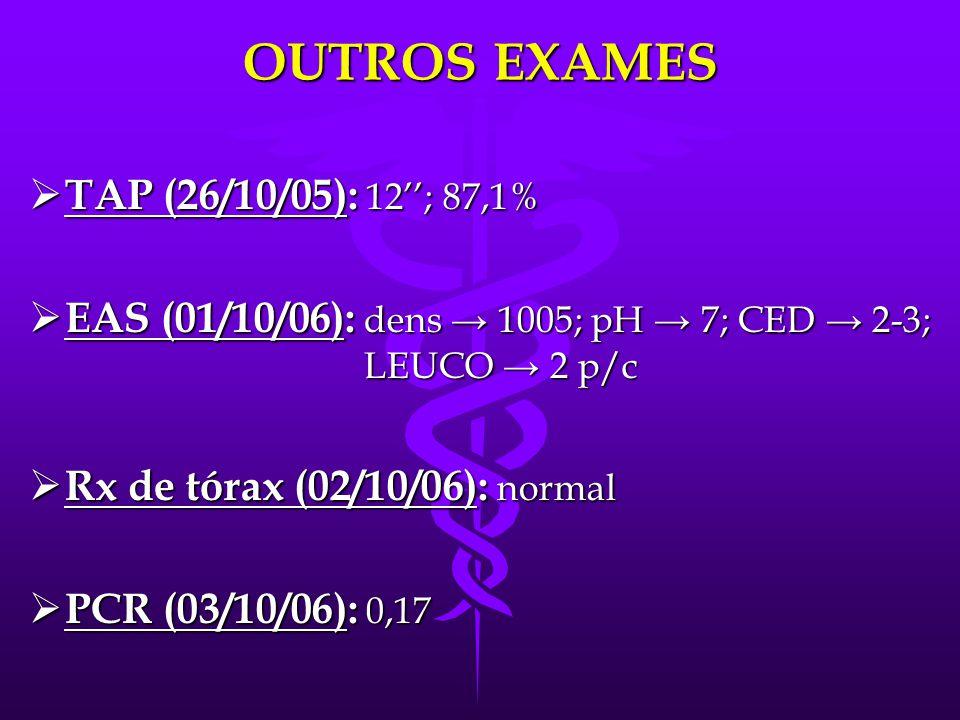 GASOMETRIAS 27/10/0503/10/06 pH7,327,4 pCO 2 4526 pO 2 9771,2 ABE-2-7,3 Lactato34 HCO 3 2218,9 Hb10,6 Glicose105