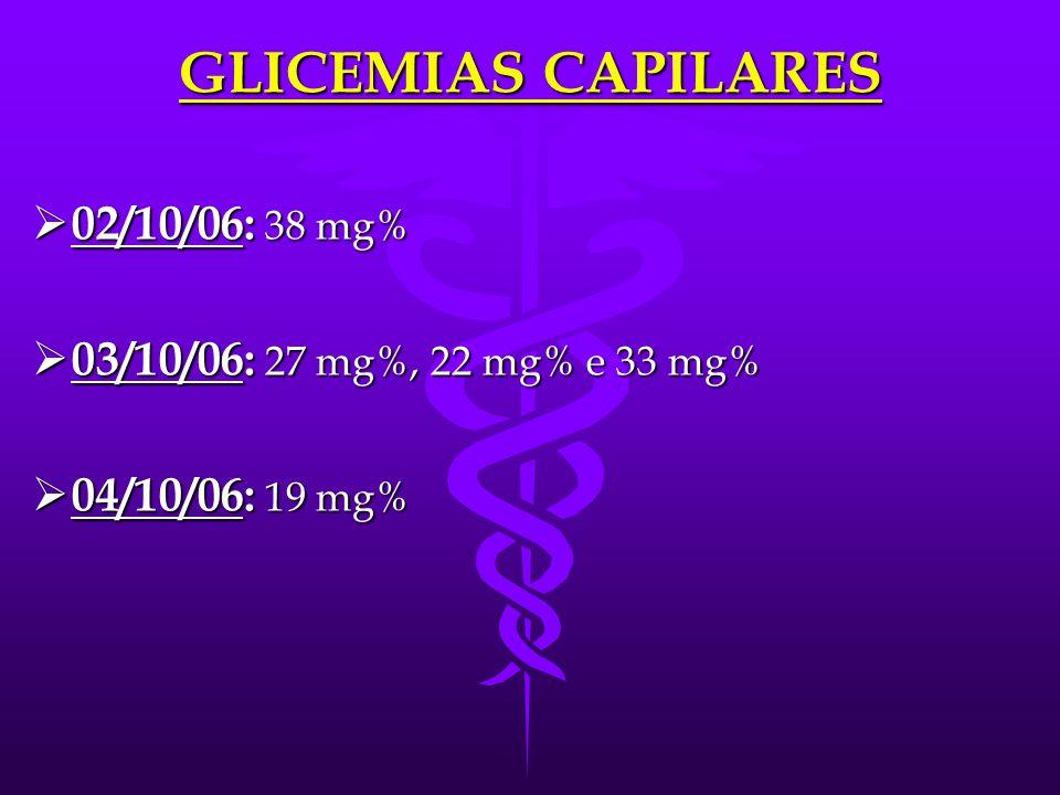 OUTROS EXAMES  TAP (26/10/05): 12''; 87,1%  EAS (01/10/06): dens → 1005; pH → 7; CED → 2-3; LEUCO → 2 p/c  Rx de tórax (02/10/06): normal  PCR (03