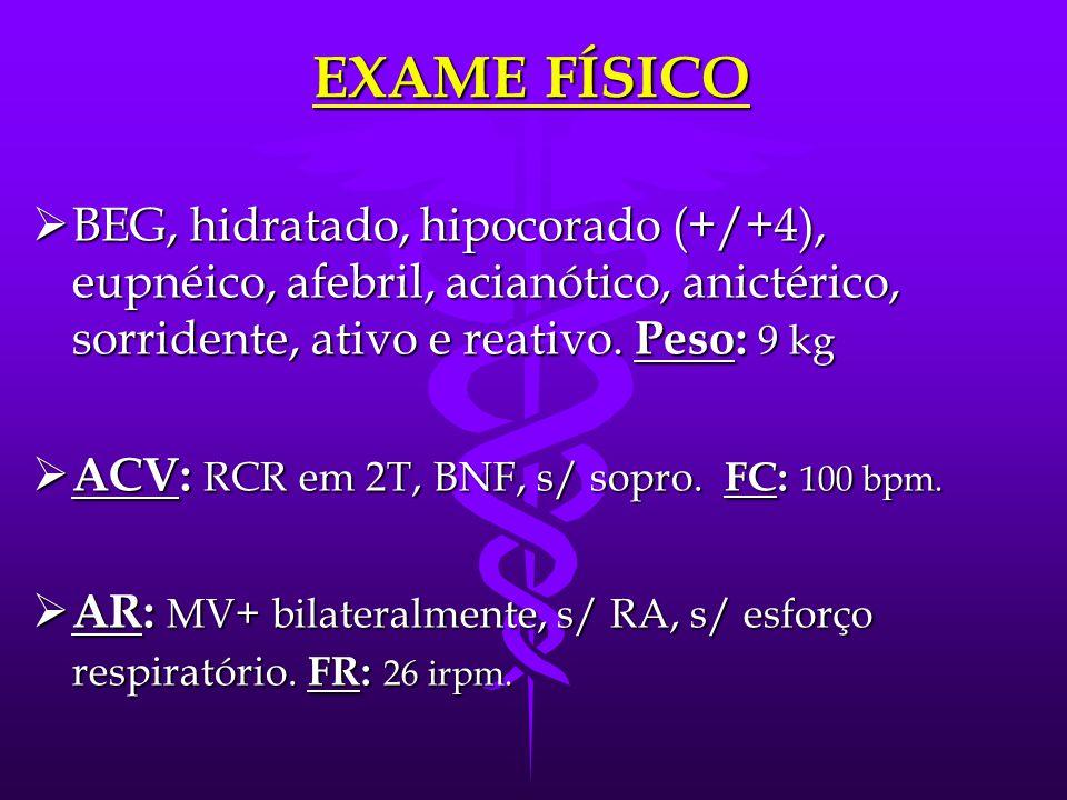EXAME FÍSICO  BEG, hidratado, hipocorado (+/+4), eupnéico, afebril, acianótico, anictérico, sorridente, ativo e reativo.
