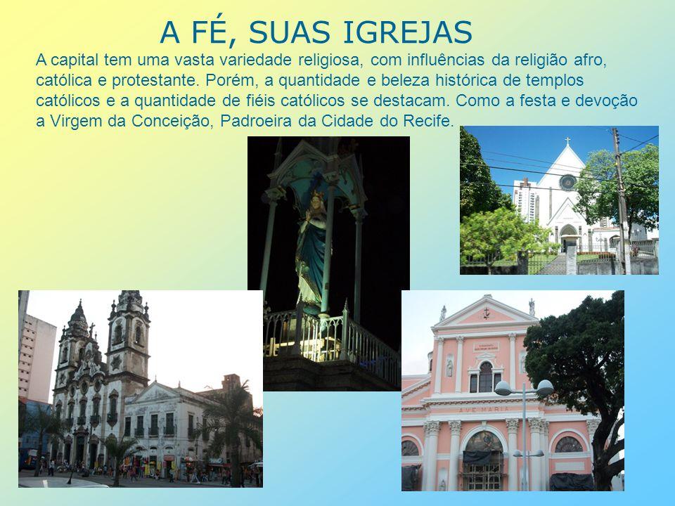 PALÁCIOS O Palácio do Campo das Princesas (Palácio do Governo), sede administrativa do estado de Pernambuco, foi construído em 1841 e situa-se no bairro de Santo Antônio.