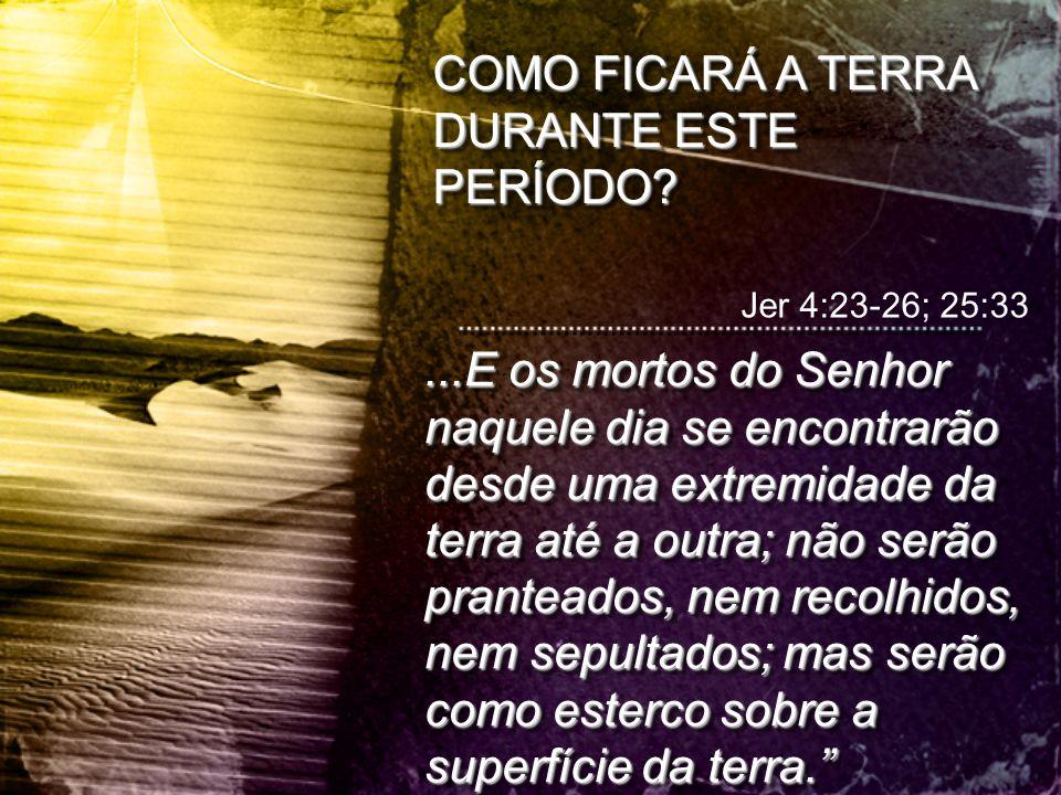 COMO FICARÁ A TERRA DURANTE ESTE PERÍODO? Jer 4:23-26; 25:33...E os mortos do Senhor naquele dia se encontrarão desde uma extremidade da terra até a o