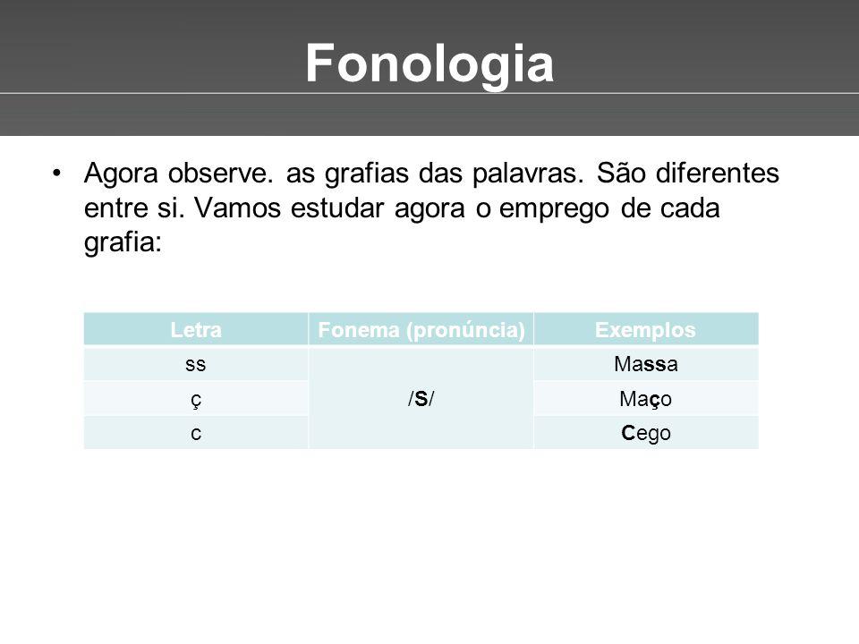 Page 3 Fonologia •Agora observe. as grafias das palavras. São diferentes entre si. Vamos estudar agora o emprego de cada grafia: LetraFonema (pronúnci
