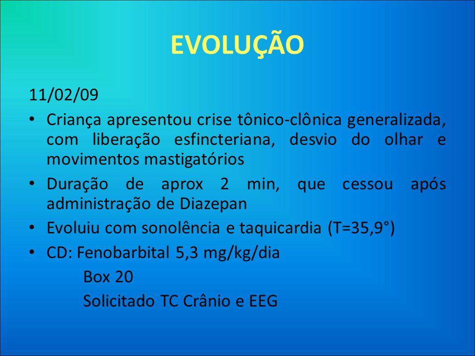 EVOLUÇÃO 11/02/09 • Criança apresentou crise tônico-clônica generalizada, com liberação esfincteriana, desvio do olhar e movimentos mastigatórios • Duração de aprox 2 min, que cessou após administração de Diazepan • Evoluiu com sonolência e taquicardia (T=35,9°) • CD: Fenobarbital 5,3 mg/kg/dia Box 20 Solicitado TC Crânio e EEG