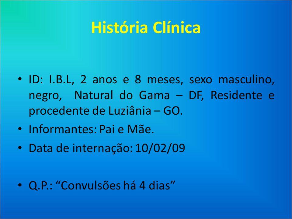 História Clínica • ID: I.B.L, 2 anos e 8 meses, sexo masculino, negro, Natural do Gama – DF, Residente e procedente de Luziânia – GO.