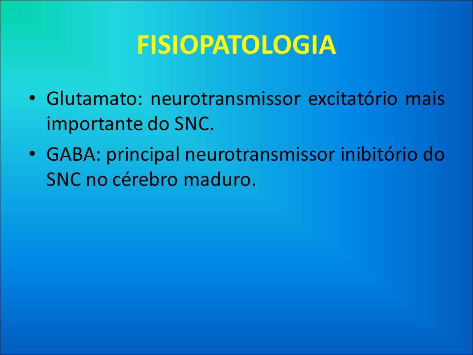 FISIOPATOLOGIA • Glutamato: neurotransmissor excitatório mais importante do SNC.