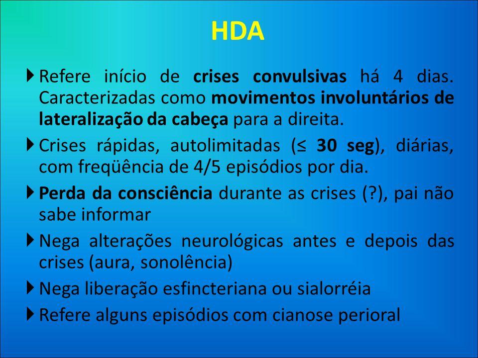 HDA  Refere início de crises convulsivas há 4 dias.