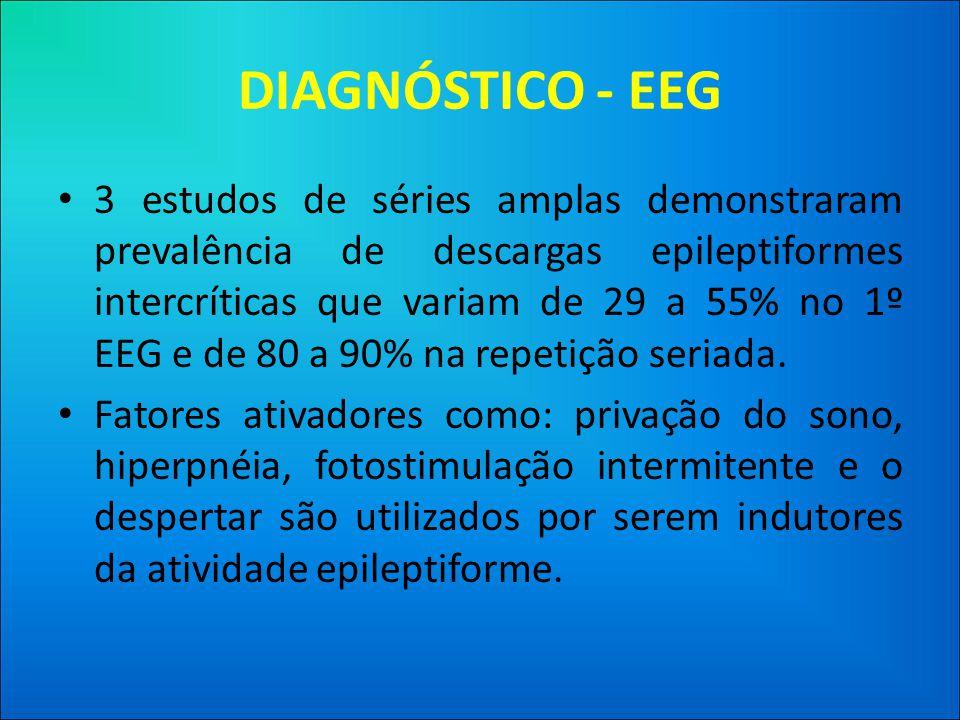 DIAGNÓSTICO - EEG • 3 estudos de séries amplas demonstraram prevalência de descargas epileptiformes intercríticas que variam de 29 a 55% no 1º EEG e de 80 a 90% na repetição seriada.