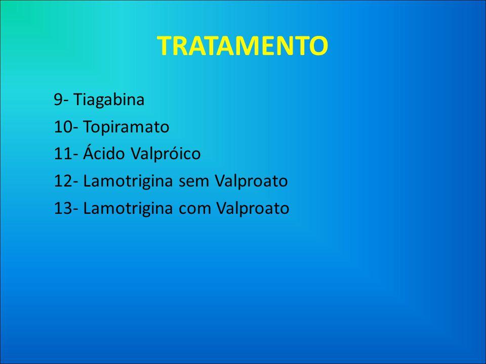 TRATAMENTO 9- Tiagabina 10- Topiramato 11- Ácido Valpróico 12- Lamotrigina sem Valproato 13- Lamotrigina com Valproato