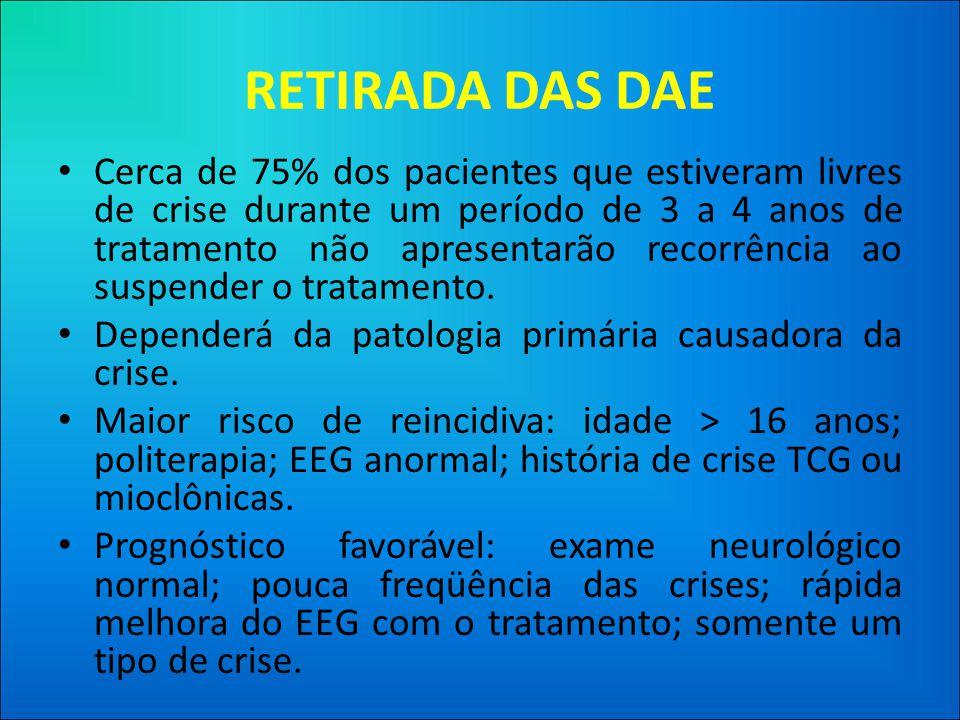 RETIRADA DAS DAE • Cerca de 75% dos pacientes que estiveram livres de crise durante um período de 3 a 4 anos de tratamento não apresentarão recorrência ao suspender o tratamento.