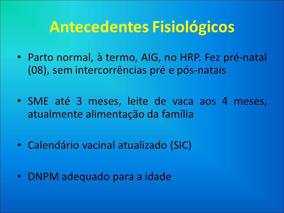 Antecedentes Fisiológicos • Parto normal, à termo, AIG, no HRP.