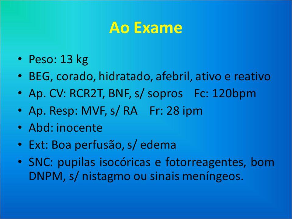Ao Exame • Peso: 13 kg • BEG, corado, hidratado, afebril, ativo e reativo • Ap.