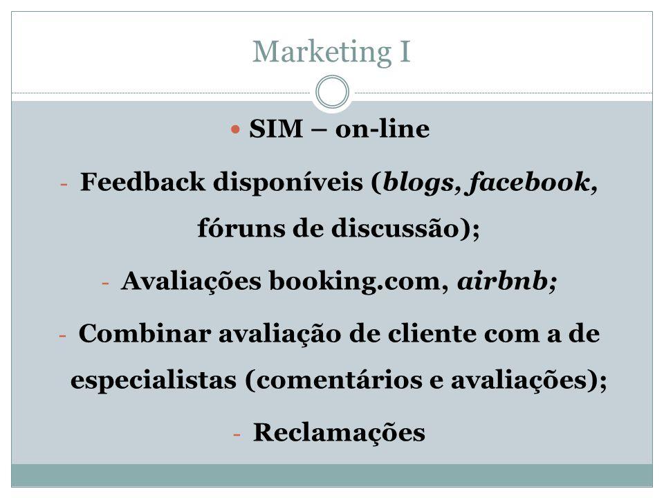 Marketing I  SIM – on-line - Feedback disponíveis (blogs, facebook, fóruns de discussão); - Avaliações booking.com, airbnb; - Combinar avaliação de c