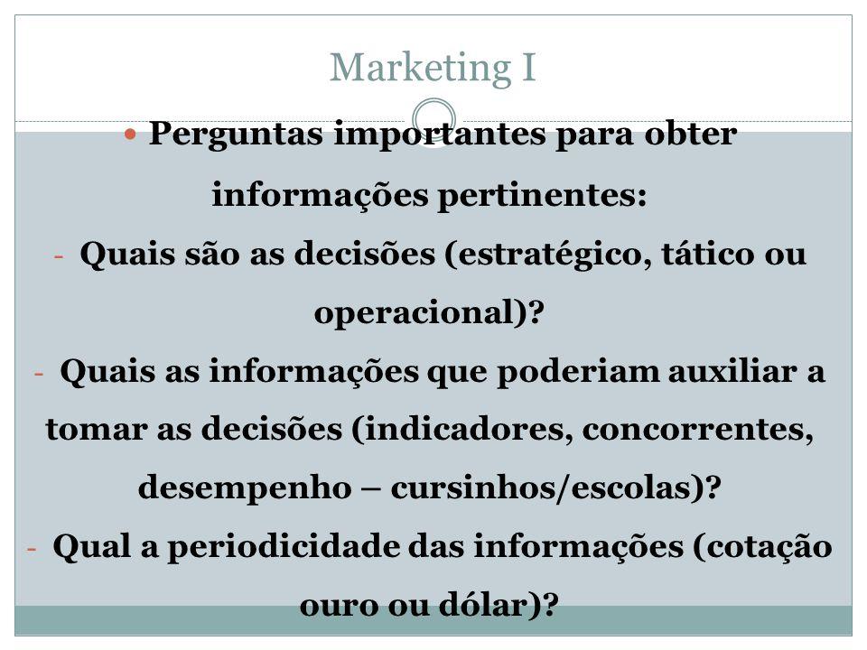 Marketing I  Perguntas importantes para obter informações pertinentes: - Quais são as decisões (estratégico, tático ou operacional)? - Quais as infor