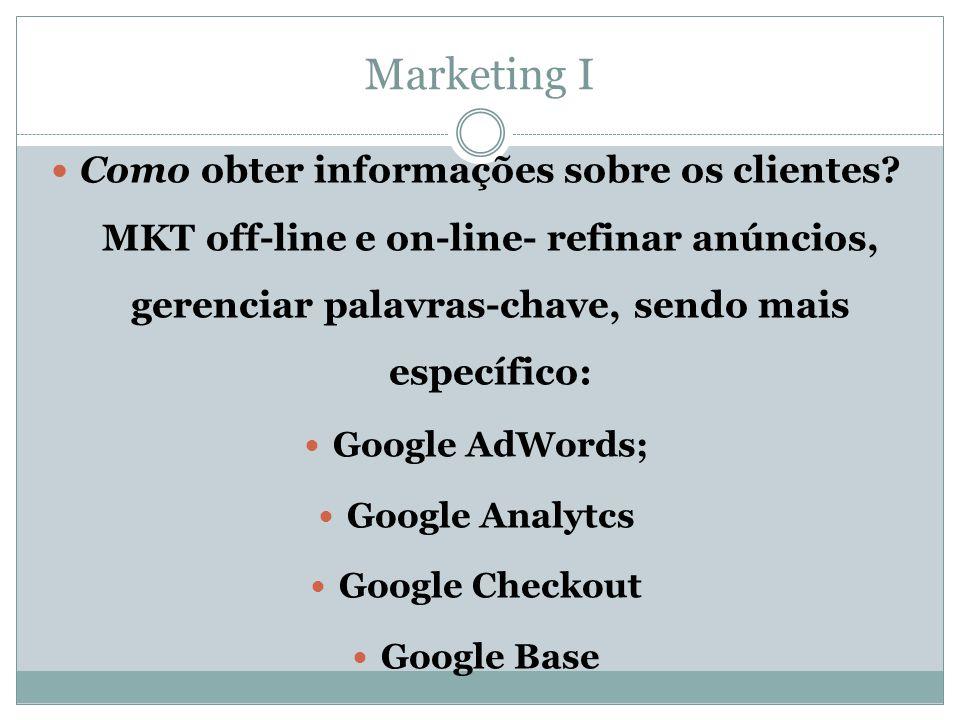 Como obter informações sobre os clientes? MKT off-line e on-line- refinar anúncios, gerenciar palavras-chave, sendo mais específico:  Google AdWord
