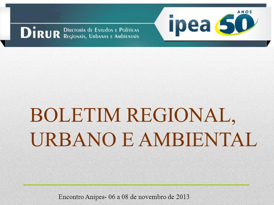 Encontro Anipes- 06 a 08 de novembro de 2013 BOLETIM REGIONAL, URBANO E AMBIENTAL