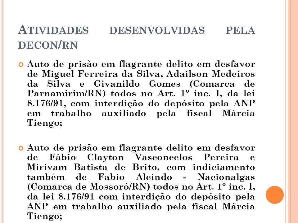 A TIVIDADES DESENVOLVIDAS PELA DECON / RN Auto de prisão em flagrante delito em desfavor de Miguel Ferreira da Silva, Adailson Medeiros da Silva e Giv