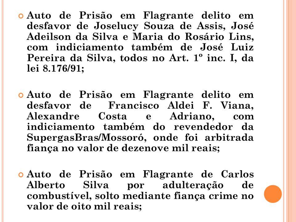 Auto de Prisão em Flagrante delito em desfavor de Joselucy Souza de Assis, José Adeilson da Silva e Maria do Rosário Lins, com indiciamento também de