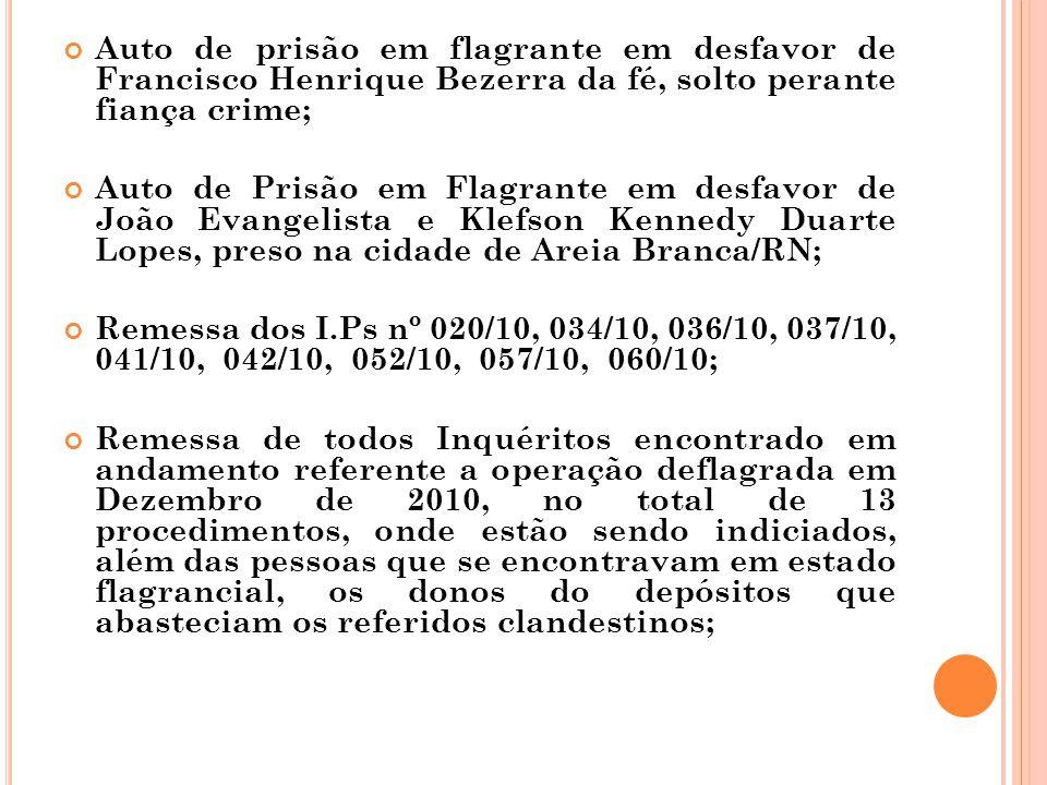 Auto de prisão em flagrante em desfavor de Francisco Henrique Bezerra da fé, solto perante fiança crime; Auto de Prisão em Flagrante em desfavor de Jo