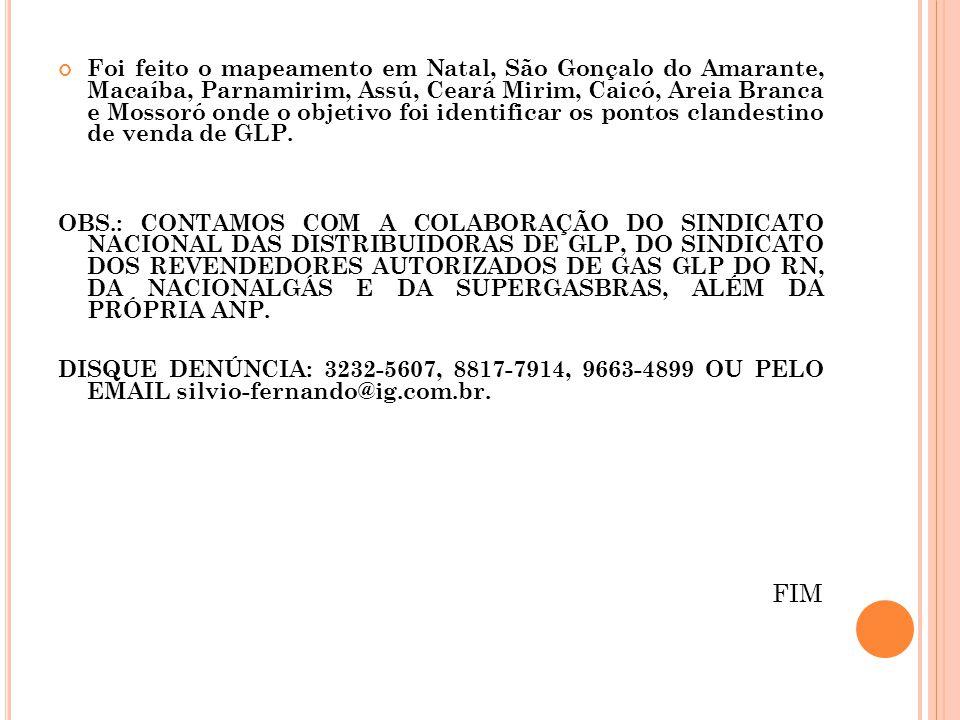 Foi feito o mapeamento em Natal, São Gonçalo do Amarante, Macaíba, Parnamirim, Assú, Ceará Mirim, Caicó, Areia Branca e Mossoró onde o objetivo foi id