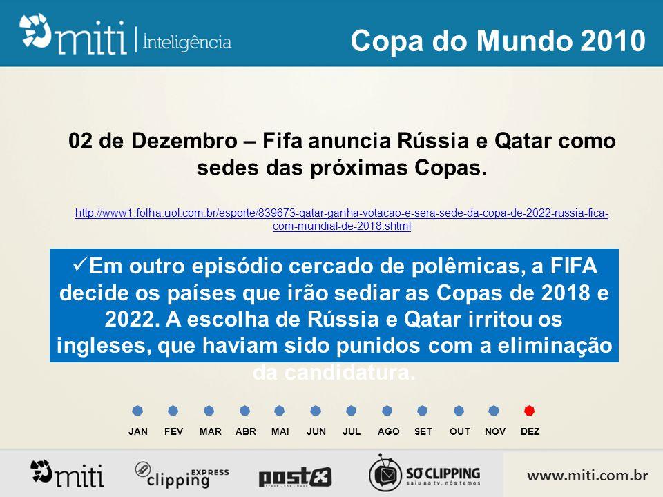 02 de Dezembro – Fifa anuncia Rússia e Qatar como sedes das próximas Copas.